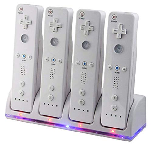 Wii Remote Controller Charger, 4 in 1 Wii Charging Dock Station with 4PCS 2800mAh Rechargeable Batteries for Wii/ Wii U Controller-White ()