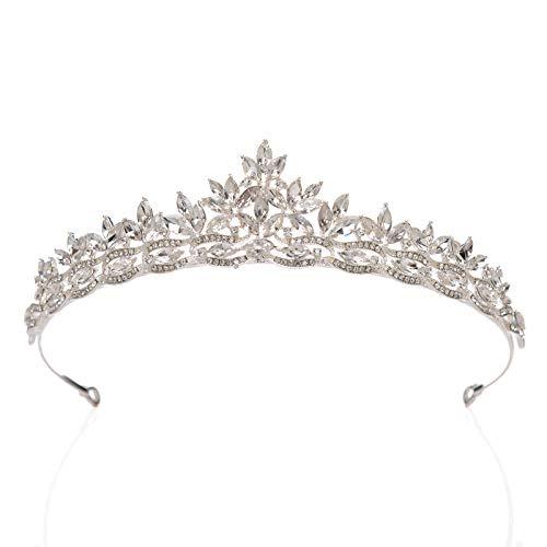 SWEETV Rhineshtone Wedding Tiara for Bride - Princess Tiara Headband Bridal Crown, Bridal Hair Accessories for Women, Silver