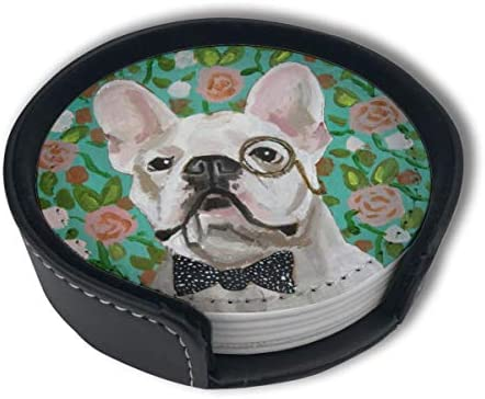 Green Rose French Bulldog Gentleman Home Decor Mark Cup Mat Pu Leather Set Of 6 Dining Table Decorations Round Coasters Gift Ornament Beer Mats Car Coasters
