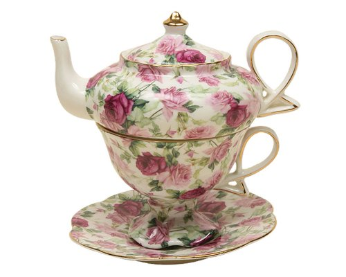 Gracie China by Coastline Imports 4-Piece Porcelain Tea for One, Stacked Teapot Cup Saucer, Pink Summer Rose Chintz