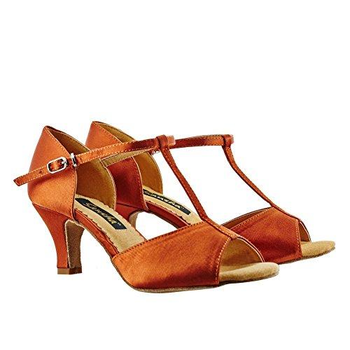 (SANSHA Adult Dark Tan Satin Upper T-Bar Heel Lavinia Ballroom Shoes Womens 13)