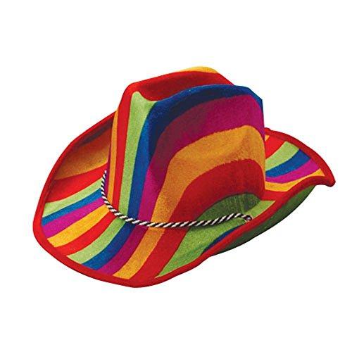 Rainbow Cowboy Hat (One Rainbow Theme Felt Cowboy Hat With Chinstrap)