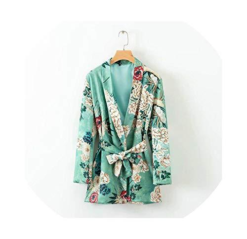 (Women Blazer Female Print Belt Office Blazer Jacket Long Sleeve Coat Cape Blazer Feminino Work Suit)