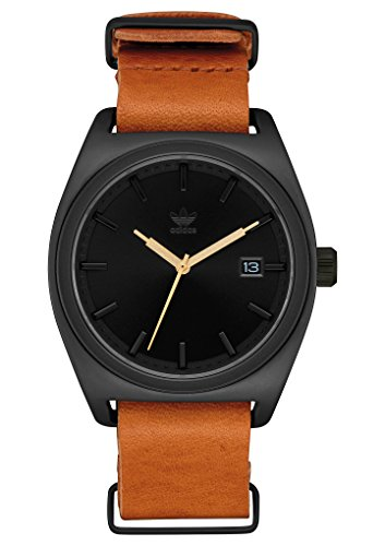 adidas Watches Process_PK2. NATO Premium Horween Leather and NATO Nylon Straps, 20mm Width (All Black/Gold/Tan. 40mm). ()
