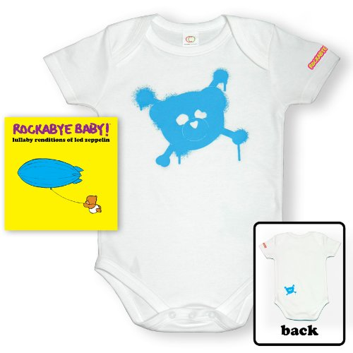 Rockabye Baby! Lullaby Renditions of Led Zeppelin + Organic Baby Bodysuit (Blue)]()