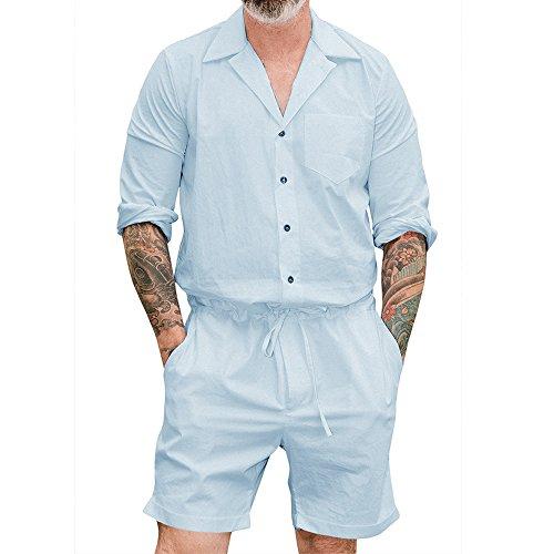 con Hombres para Larga Sólido de 4XL Manga Cielo Azul Color Jumpsuit Mamelucos M Moda de Hombre de Hibote Ocasionales Bolsillo Sqd8wff