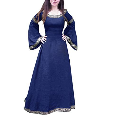 Women's Medieval Dress Cosplay Costume Renaissance Victorian Long Sleeve Asymmetric Hem Fancy Maxi Dress (Blue, XXL) ()