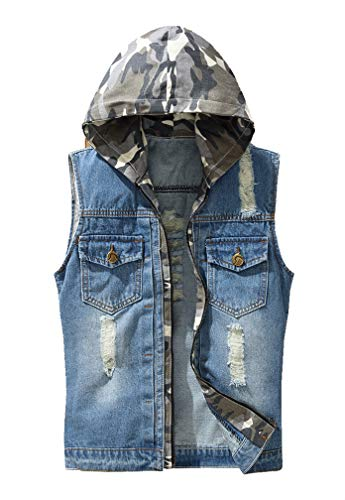 Lavnis Men's Hoodie Denim Vest Casual Slim Fit Button Down Sleeveless Jeans Vests Jacket Style 1 S