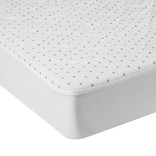 Pack N Play Mattress Pad Cover Protector – 2-N-1 Sheet Cover Combo Fitted Baby Playard Crib Quilted Padded Mattress Topper – Hypoallergenic, Foldable, Waterproof, Machine & Dryer Safe (Dot Bedding Collection Crib)