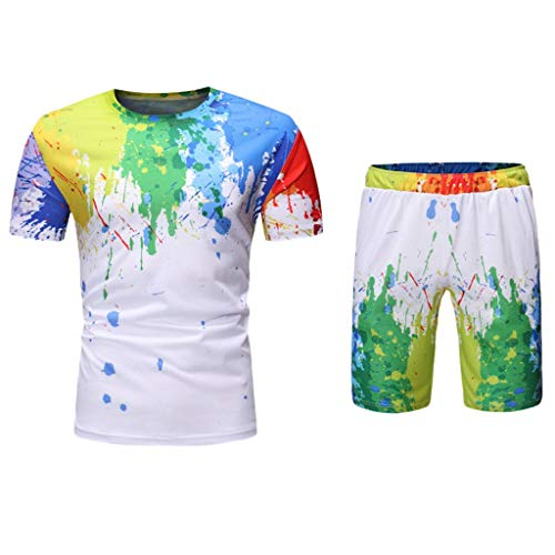 MIS1950s Men Novelty Tee Slim Fit Print Splash-Ink Short Sleeve Muscle Casual Tops Blouse Swim Shorts Sports Shirts Suits