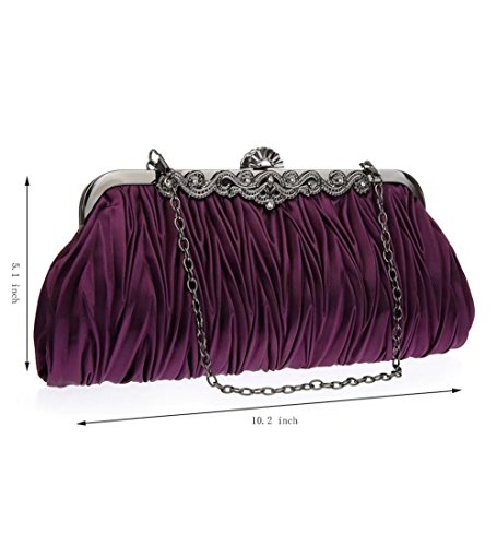 Party Handbags Pleated Red Womens Bag purple for Clutch Wedding Bags Puluo Evening Satin Prom XSaqxHxP