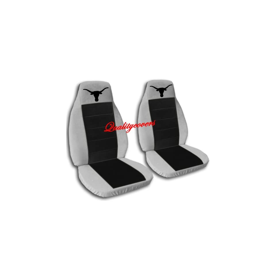 Silver and black Longhorn seat covers. 40/60 split seat covers for a Ford F 150 Super Crew cab. Center console included