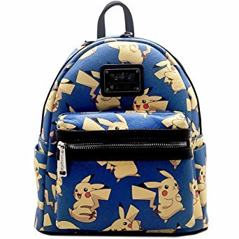 c7d43b9cd947 Amazon.com  Loungefly X Pokemon PIKACHU AOP Mini Backpack in Blue ...