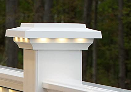 Azek 55 x 55 lighted island post cap white amazon azek 55quot x 55quot lighted island aloadofball Images