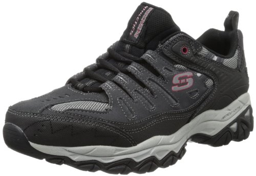 Skechers Sport Men's Afterburn Memory Foam Lace-Up Sneaker,Charcoal/Black,10.5 M US