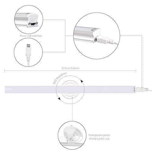 LED Vanity Mirror Light, Jayol Dimmable Makeup Light with 1.8m USB Cable, Super Bright LED Mirror Light, 360 Degree Rotation Vanity Light Kits, Cosmetic Lamp for Bathroom Dressing Room Vanity Table by Jayol (Image #7)