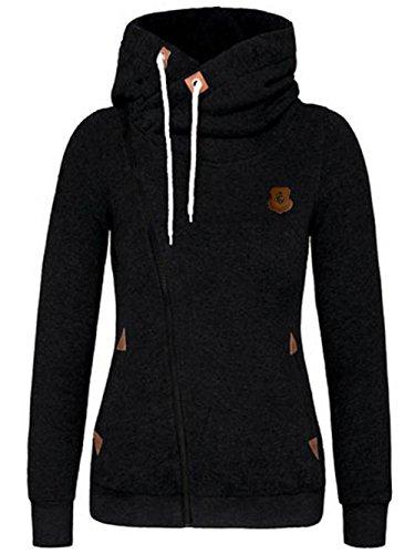 FANTIGO Women's Oblique Zipper Hoodie Sweatshirt Slim Fit Coat Black M