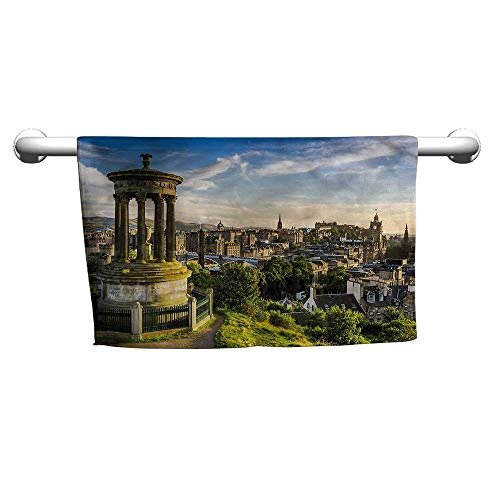 Flowered Cityscape,Edinburgh Aerial View,Towel for -