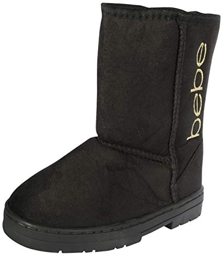 bebe Girls Winter Boots with Side Logo, Black/Gold,