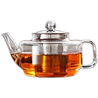 500ml High Borosilicate Glass Teapot with Stainless Steel Strainer and Lid, Cylinder-Shape