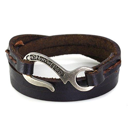 Wide Genuine Leather Adjustable Bracelet Wrap Bangle (Black) - 7