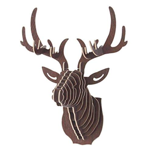 Stag Head - Mochiglory 3D Wooden Puzzle Model Elk Deer Head Wall Decor Animal Sculpture Ornament Wall Art Decor 6 Colors