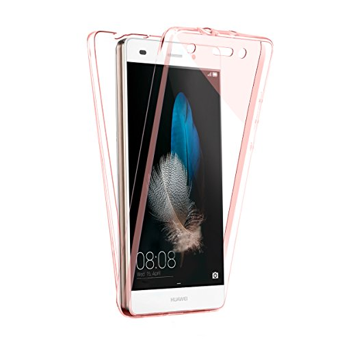 Sunroyal® huawei p8 lite Funda Carcasa Huawei P8 Lite Phone Movil Case Protectora 360 Grados Full Body | TPU en Transparente | Protección Completa Doble Case Cover Smartphone Móvil Accesorio [Resisten B-RosaOro