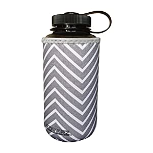 Koverz XL - #1 Neoprene 32-40 oz Water Bottle Insulator Cooler Coolie - Gray Chevron