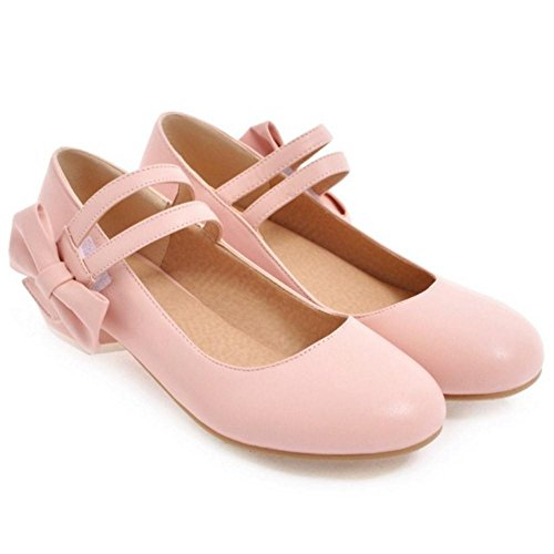 Bow Women's Jane Fashion Pink Mary TAOFFEN Shoes x8wAzAX