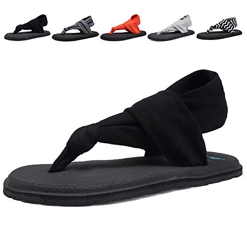 (DESTURE Womens Yoga Sling Flip Flops Mat Thong Sandals Lightweight Shoes Size 6-10,Black,40-9M)