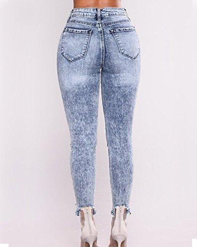 Cheville Trou Skinny Jeans Leggings ZhuiKunA Bleu Casual Extensible Femmes Slim Clair Dchirs qxx8zw7RC