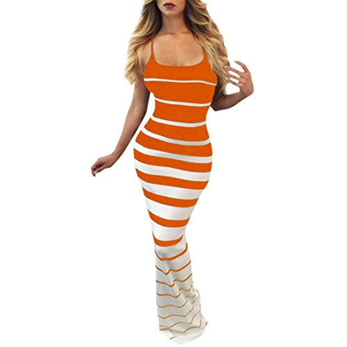 Price comparison product image Minisoya Casual Women Striped Dress Sleeveless Bodycon Formal Cocktail Evening Party Club Long Maxi Mermaid Dress (Orange,  XL)