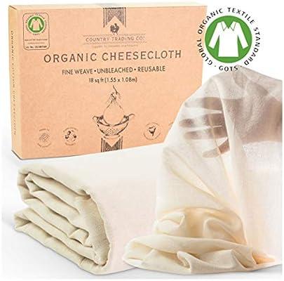 Gotas de algodón orgánico sin blanquear, certificado de algodón GOTS, colador reutilizable fino (corte grande, 1,5 m x 1,0 m): Amazon.es: Hogar