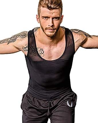 Shaxea Men's Extreme Compression Shirt to Hide Gynecomastia Moobs Chest Body Slimming Undershirt Shapewear - Black - Medium