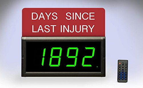 Electronic Displays Inc. EDV300-4D-Days-GN Digital Safety Sign 3'' Numbers Indoor IR Remote Included by Electronic Displays
