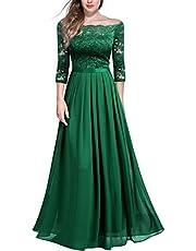 Miusol Women's Off Shoulder Floral Lace Chiffon Formal Maxi Dress