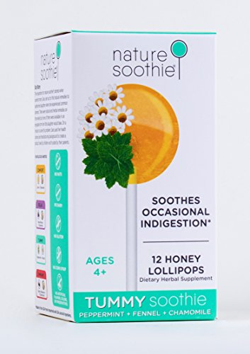 nature soothie Tummy All-Natural Lollipop, Peppermint, Chamomile and Fennel, 12 Count (Mint Spoon)