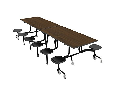 60T Easy Folding Mobile Table, 29x30x120, 12 Stools, Walnut/Black, Cafeteria, School Breakroom Table (Stool Table Cafeteria)