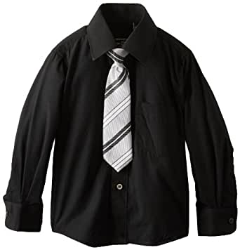 American Exchange Little Boys' Little Dress Shirt with Tie and Pocket Square, Black, 1