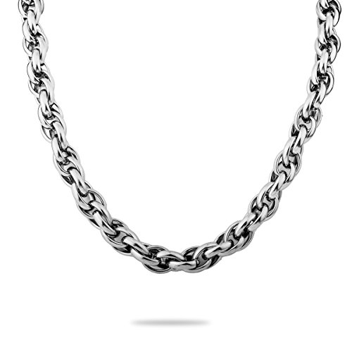 [VALYRIA 3.28ft Stainless Steel Double Linked Cable Twist Chain Necklace Jewelry Findings 14.5mmx11.3mm] (Double Linked Chain)