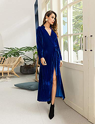 verano Jizhi V Festivos Profunda Escote Camiseta Corte blue xl En Cintura Maxi Mujer Ancho Vestido Alta otoño qOxgqH1w