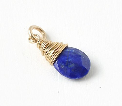 September Birthstone Charm for Necklace or Bracelet - Small Genuine Lapis Lazuli Pendant Wire Wrapped in Gold Fill by Blue Room Gems