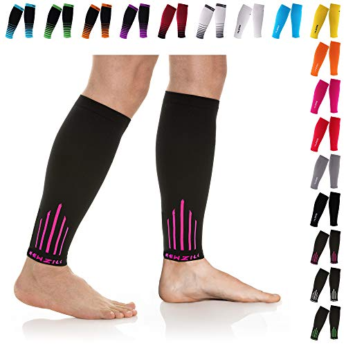NEWZILL Compression Calf Sleeves (20-30mmHg) for Men & Women - Perfect Option to Our Compression Socks - for Running, Shin Splint, Medical, Travel, Nursing, Cycling (L/XL, Pink)