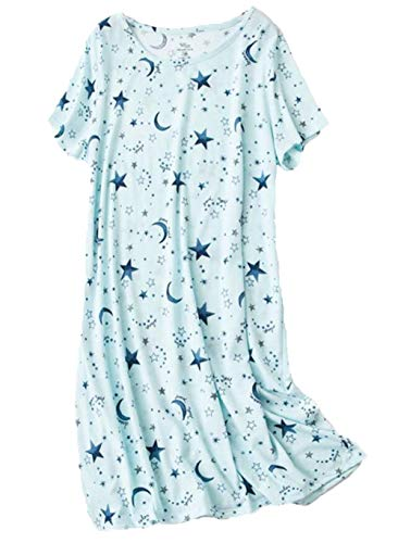 Inadays Women's Nightshirt Cotton Sleep Tee Short Sleeves Print Sleep Shirts for Women SQ002-Star-L