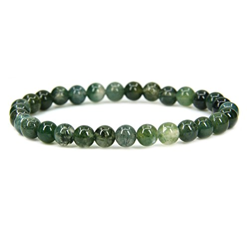 (Natural Moss Agate Gemstone 6mm Round Beads Stretch Bracelet 7
