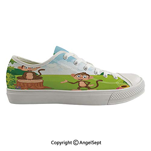 (Durable Anti-Slip Sole Washable Canvas Shoes 13.77inch Three Monkeys Playing in a Tropical Forest Banana Africa Safari Nature Decorative,Pale Blue Brown Green Flexible and Soft Nice Gift)