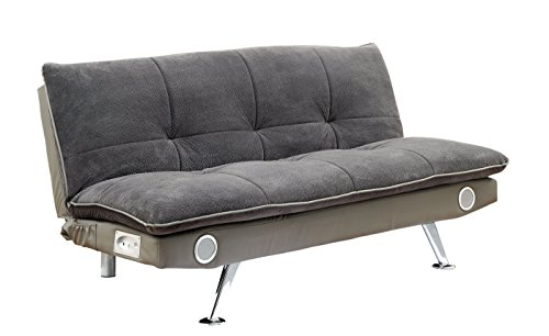 Furniture of America Nuvia Futon Sofa with Bluetooth Speaker System, Gray