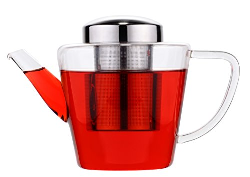 GROSCHE Sicily All Glass Teapot Hand Made with Removable Stainless Steel Infuser - 40.5 oz / 1200 ml