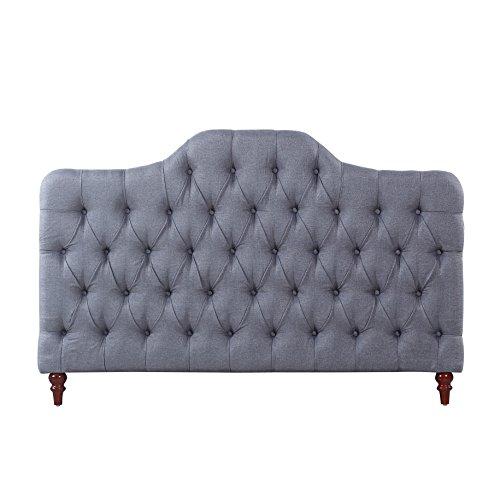 Divano Roma Furniture Classic Deluxe Tufted Grey Fabric Headboard (Queen) by Divano Roma Furniture