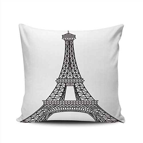 Hoooottle Custom Retro Eiffel Tower Decorative Pillowcase Throw Pillow Case Cover Zippered Square Double Side Printed 22x22 Inches ()